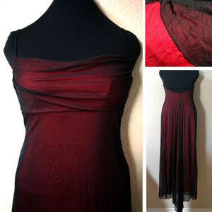 EUC Draped bust red sparkle formal gown w train 7